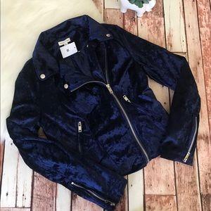 Silence + Noise Velvet Navy Blue Moto Jacket M